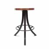 Foundry Collection 24'' Bistro Counter Height Swivel Bar Stool, American Black Walnut Wood Top With Wrinkle Black Base, 15''Diameter x 24''H
