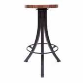 Foundry Collection 30'' Bistro Bar Height Swivel Bar Stool, American Black Walnut Wood Top With Wrinkle Black Base, 15''Diameter x 30''H