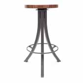 Foundry Collection 30'' Bistro Bar Height Swivel Bar Stool, American Black Walnut Wood Top With Clear Coat Base, 15''Diameter x 30''H