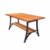 Foundry Collection 42'' Bistro Bar Height Table, American Cherry Wood Top With Wrinkle Black Base, 60''W x 36''D x 42''H
