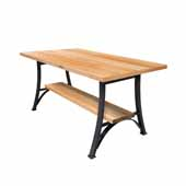 Foundry Collection 42'' Bistro Bar Height Table, Northern Hard Rock Maple Wood Top With Wrinkle Black Base, 84''W x 36''D x 42''H
