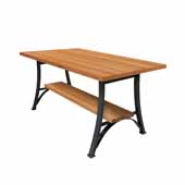 Foundry Collection 42'' Bistro Bar Height Table, Appalachian Red Oak Wood Top With Wrinkle Black Base, 84''W x 42''D x 42''H