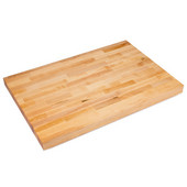 Commercial Grade 2-1/4'' Thick Hard Rock Maple Edge Grain Bakers Table Top, Non-Reversible, Oil Finish, Available in Multiple Widths & Depths