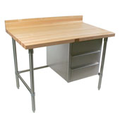 Stainless Steel Bakers Table with 3-Drawer Tier and 1-3/4'' Hard Maple Top with 4'' Coved Back Riser, Available in Different Sizes