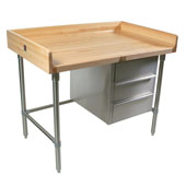 Stainless Steel Bakers Table with 3-Drawer Tier and 1-3/4'' Hard Maple Top with 4'' Coved Back & Sides Riser, Available in Different Sizes