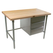 Stainless Steel Bakers Table with 3-Drawer Tier and 1-3/4'' Flat Hard Maple Top, Available in Different Sizes