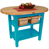Elliptical C-Table, Caribbean Blue, Multiple Sizes Available with No Shelf, or 1 or 2 Shelves