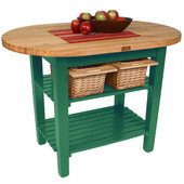 Elliptical C-Table, Clover Green, Multiple Sizes Available with No Shelf, or 1 or 2 Shelves
