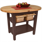 Elliptical C-Table, French Roast, Multiple Sizes Available with No Shelf, or 1 or 2 Shelves