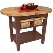 Elliptical C-Table, Walnut Stain, Multiple Sizes Available with No Shelf, or 1 or 2 Shelves