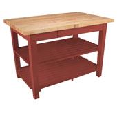Classic Country Worktable, 36'', 48'', or 60'' W x 24'' D x 35''H, with 2 Shelves, Barn Red