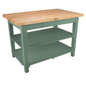 Classic Country Worktable, 48'' or 60'' W x 36'' D x 35''H, with 2 Shelves, Basil