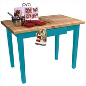 Classic Country Worktable, 36'' W or 60'' W x 24'' D x 35''H, Caribbean Blue