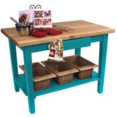 Classic Country Worktable, 48'' or 60'' W x 30'' D x 35''H, with 1 Shelf, Caribbean Blue