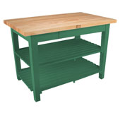 Classic Country Worktable, 48'' or 60'' W x 36'' D x 35''H, with 2 Shelves, Clover Green