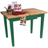 Classic Country Worktable, 48'' or 60'' W x 36'' D x 35''H, Clover Green