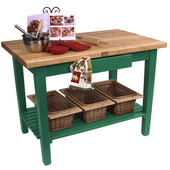 Classic Country Worktable, 48'' or 60'' W x 36'' D x 35''H, with 1 Shelf, Clover Green