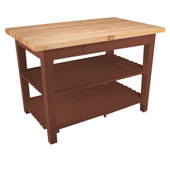 Classic Country Worktable, 48'' or 60'' W x 36'' D x 35''H, with 2 Shelves, Cherry