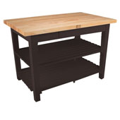 Classic Country Worktable, 48'' or 60'' W x 36'' D x 35''H, with 2 Shelves, French Roast