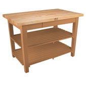 Classic Country Worktable, 48'' or 60'' W x 36'' D x 35''H, with 2 Shelves, Natural Maple