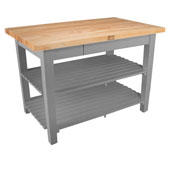 Classic Country Worktable, 48'' or 60'' W x 36'' D x 35''H, with 2 Shelves, Slate Gray