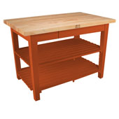 Classic Country Worktable, 48'' or 60'' W x 30'' D x 35''H, with 2 Shelves, Spicy Latte