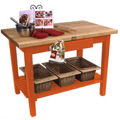Classic Country Worktable, 36'', 48'', or 60'' W x 24'' D x 35''H, with 1 Shelf, Spicy Latte