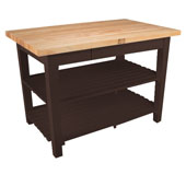 Classic Country Worktable, 48'' or 60'' W x 30'' D x 35''H, with 2 Shelves, Walnut Stain