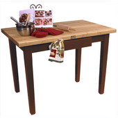 Classic Country Worktable, 48'' or 60'' W x 36'' D x 35''H, Walnut Stain