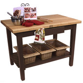 Classic Country Worktable, 48'' or 60'' W x 36'' D x 35''H, with 1 Shelf, Walnut Stain