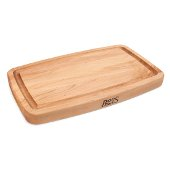 Arched Top & Bowed Bottom Cutting Board, Northern Hard Rock Maple, Edge Grain, 18'' W x 11'' D x 1-1/2'' Thick, Juice Groove (One Side), Reversible w/ Recessed Finger Grips, Boos Block Cream Finish w/ Beeswax