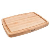 Arched Top & Bowed Bottom Cutting Board, Northern Hard Rock Maple, Edge Grain, 20'' W x 14'' D x 1-1/2'' Thick, Juice Groove (One Side), Reversible w/ Recessed Finger Grips, Boos Block Cream Finish w/ Beeswax