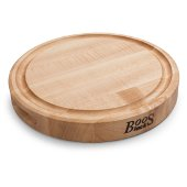 Northern Hard Rock Maple, Edge Grain Cutting Board, 12'' Diameter x 1-3/4'' Thick, Juice Groove (One Side), Reversible w/ Recessed Finger Grips, Boos Block Cream Finish w/ Beeswax