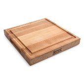 Northern Hard Rock Maple, Edge Grain Cutting Board, 12'' W x 12'' D x 1-3/4'' Thick, Juice Groove (One Side), Reversible w/ Recessed Finger Grips, Boos Block Cream Finish w/ Beeswax
