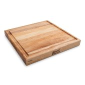 Northern Hard Rock Maple, Edge Grain Cutting Board, 15'' W x 15'' D x 1-3/4'' Thick, Juice Groove (One Side), Reversible w/ Recessed Finger Grips, Boos Block Cream Finish w/ Beeswax