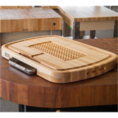 The Ultimate Carving Board Northern Hard Rock Maple, Edge Grain Cutting Board, 24'' W x 2-1/4'' Thick, Sloped Juice Groove (One Side) and Stainless Steel Tray, Pyramid Design, Reversible w/ Recessed Finger Grips, Boos Block Cream Finish w/ Beewax