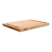 ''R'' Board w/ Groove Cutting Board, Northern Hard Rock Maple, Edge Grain, 24'' W x 18'' D x 1-1/2'' Thick, Juice Groove (One Side), Reversible w/ Recessed Finger Grips, Boos Block Cream Finish w/ Beeswax