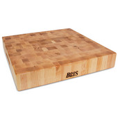 Chopping Block Collection Reversible 18'' L x 18'' W x 3'' Cutting Board with Grips, Maple End Grain