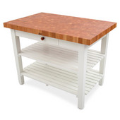 Mediterranean Table, American Cherry End Grain Top with Alabaster Base, 2 Shelves & Utensil Drawer, 48'' W x 30'' D x 36''H, 2-1/4'' Thick Top