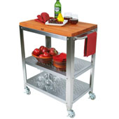 Cucina Culinarte Kitchen Cart w/ Removable Cherry Top, 30'' W x 18-1/8'' D x 36-5/16''H