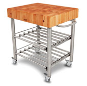 Cucina D' Amico Wine Cart with Cherry Butcher Block Top, Electrical Outlet, 12 Bottle Capacity, 30'' W x 24'' D x 35-1/2'' H, Stainless Steel