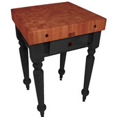 Rustica Kitchen Island with 4'' Thick Cherry End Grain Top, Black, 30'' W, 1 Drawer
