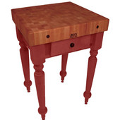 Rustica Kitchen Island with 4'' Thick Cherry End Grain Top, Barn Red, 30'' W, 1 Drawer