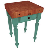 Rustica Kitchen Island with 4'' Thick Cherry End Grain Top, Basil, 30'' W, 1 Drawer
