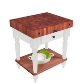 Rustica Kitchen Island with 4'' Thick Cherry End Grain Top, Alabaster, 30'' W, 1 Drawer & Shelf
