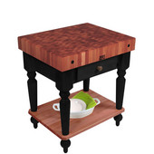 Rustica Kitchen Island with 4'' Thick Cherry End Grain Top, Black, 30'' W, 1 Drawer & Shelf