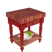 Rustica Kitchen Island with 4'' Thick Cherry End Grain Top, Barn Red, 30'' W, 1 Drawer & Shelf