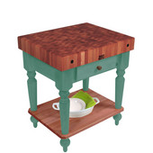 Cucina Rustica Kitchen Island with 4'' Thick Cherry End Grain Top, Basil, 30'' W, 1 Drawer & Shelf
