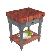 Rustica Kitchen Island with 4'' Thick Cherry End Grain Top, Slate Gray, 30'' W, 1 Drawer & Shelf