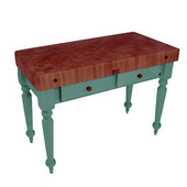 Rustica Kitchen Island with 4'' Thick Cherry End Grain Top, Basil, 48'' W, 2 Drawers